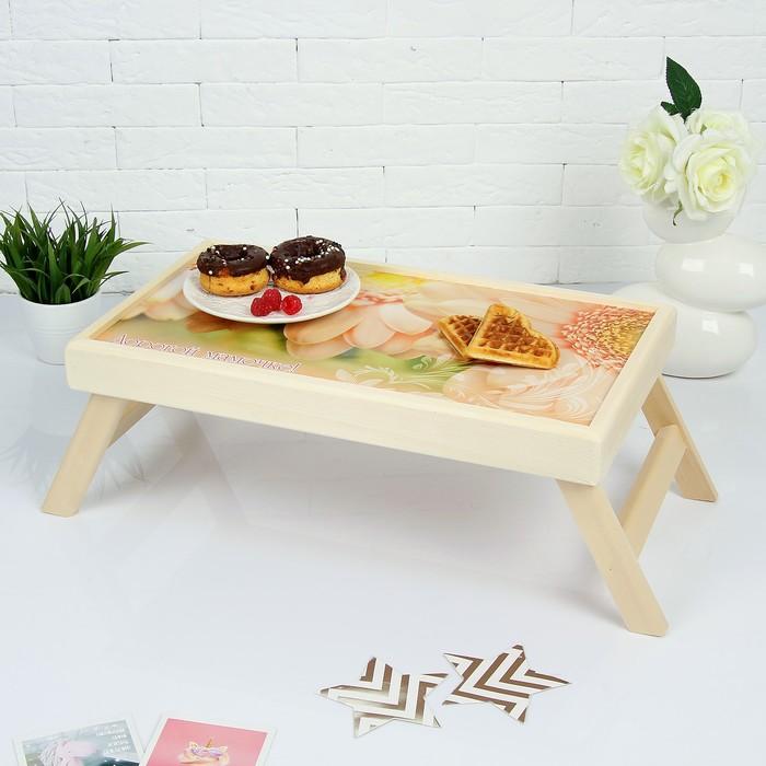 """Столик для завтрака """"Дорогой мамочке"""" герберы"""