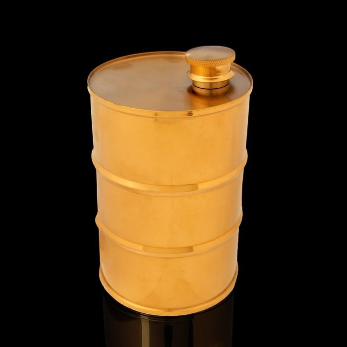 Фляжка 850  мл, в виде армейской бочки, 304 нерж сталь, золотистая, 9.2х14.5 см - фото 798085065