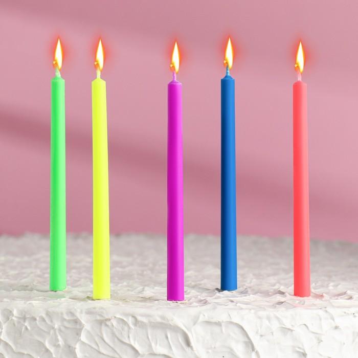 """Набор свечей в торт """"Цветное пламя"""", гиганты, 10,5х0,9см, 5 шт - фото 186605020"""