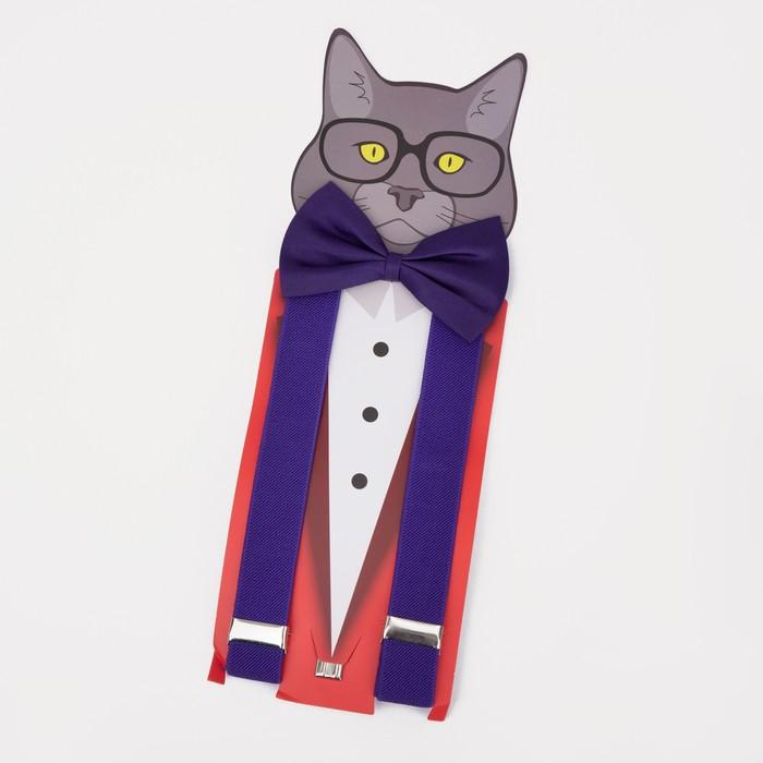 Подтяжки детские с бабочкой, цвет фиолетовый