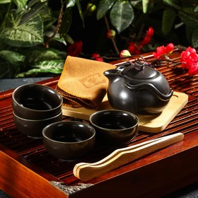"Набор для чайной церемонии ""Тясицу"", 8 предметов: чайник 120 мл, 4 чашки 50 мл, щипцы, салфетка, подставка"