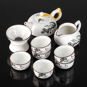 "Набор для чайной церемонии ""Цветение лотоса"", 9 предметов: чайник 180 мл, чашки 70 мл, чахай, сито"