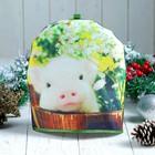 Грелка «Свинка в цветах», 27×27 см, сувенирная
