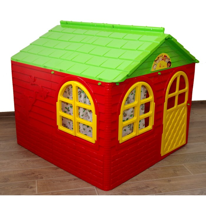 Домик со шторками, цвет красный, 1290х1290х1200 см 02550/1