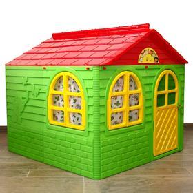 Домик №2, со шторками, цвет зелёный, 129х129х120 см