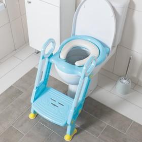 Детская накладка - сиденье на унитаз со ступенькой, с мягким сиденьем, цвет голубой