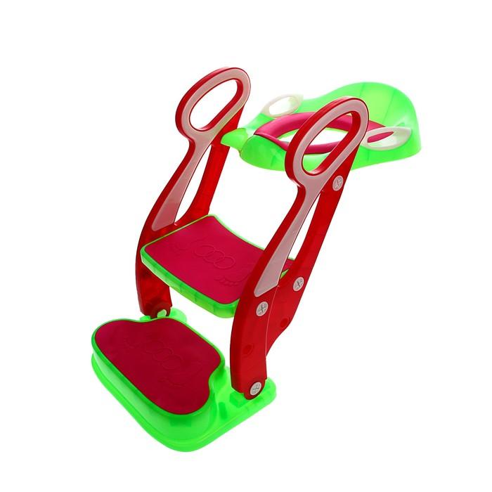 Накладка на унитаз детская со ступенькой и подножкой, с мягким сиденьем, цвет зелёный/красный