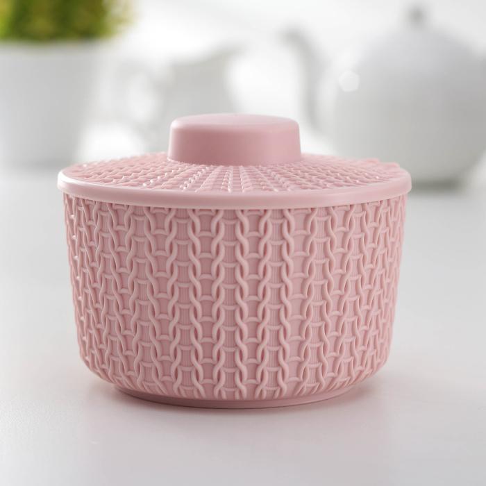 Сахарница «Вязание» 450 мл, цвет розовый