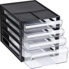 Файл-кабинет 4-секционный СТАММ, черный корпус, прозрачные лотки