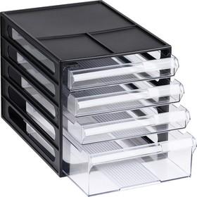 Файл-кабинет 4-секционный «СТАММ», чёрный корпус, прозрачные лотки