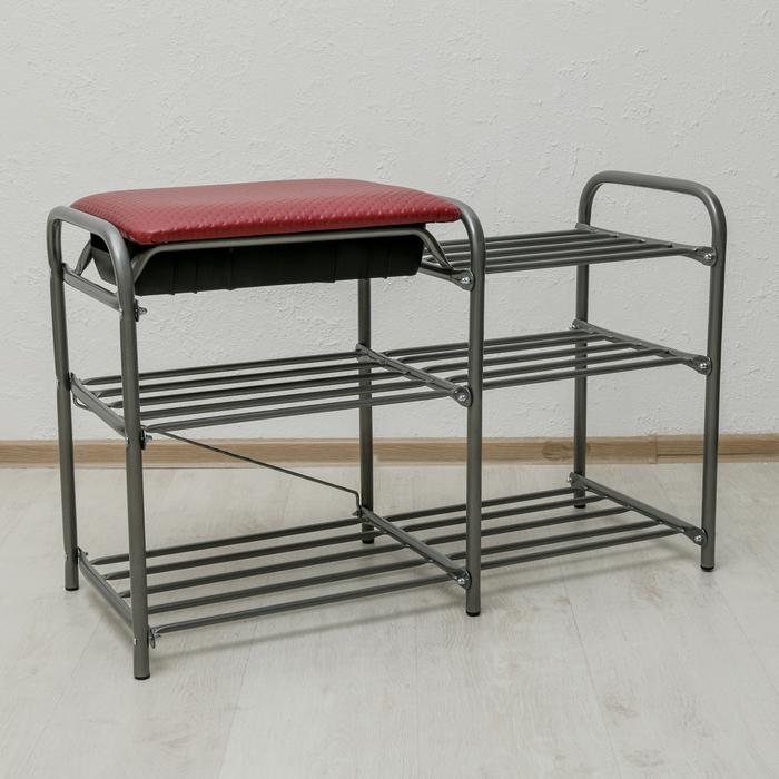 """Этажерка для обуви 79×33×50 см """"Люкс"""", с сиденьем и ящиком, цвет красный/серебро"""