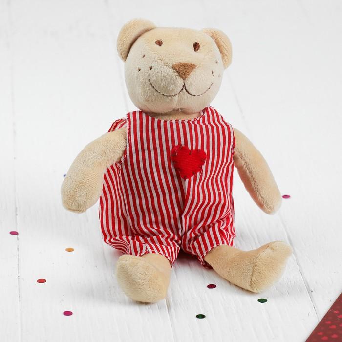 Мягкая игрушка-подвеска «Мишка в комбинезоне», с сердцем, цвета МИКС