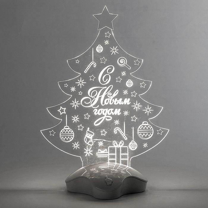 """Подставка световая """"Елка с подарком"""", 24х17 см, 7 LED, SMD3528, 3хААА (не в компл.), Т-БЕЛЫЙ"""