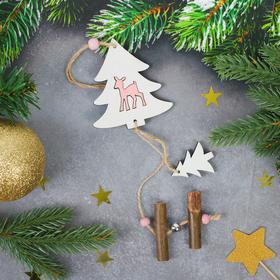 Новогодняя подвеска «Ёлочка с оленёнком», с подвесом-ёлочкой