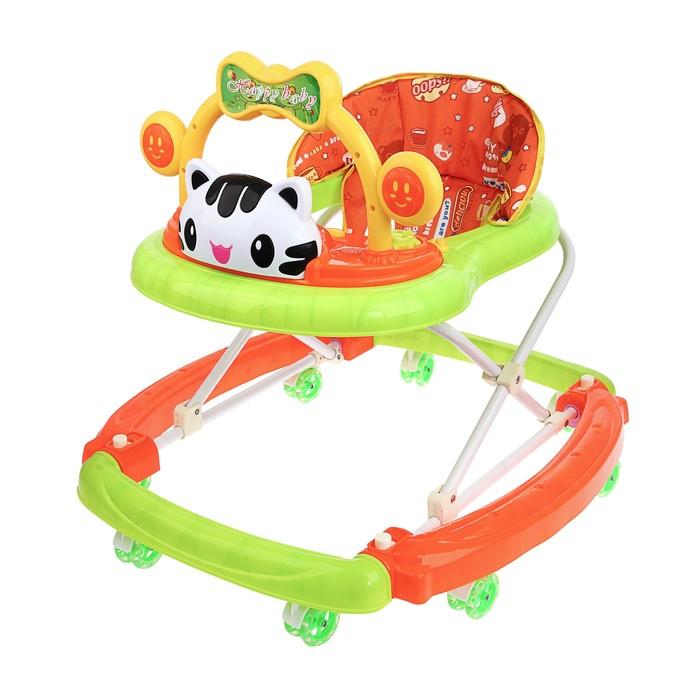 Ходунки-качалка детские «Счастливый малыш», силиконовые колёса, музыкальные эффекты, игрушки, цвет зелёный