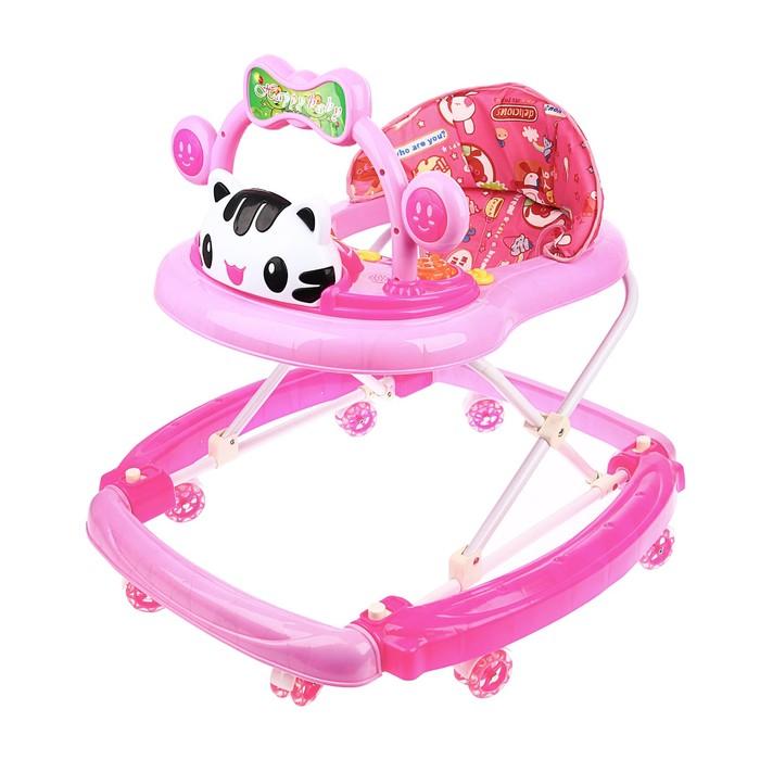 Ходунки-качалка детские «Счастливый малыш», силиконовые колёса, музыкальные эффекты, игрушки, цвет розовый