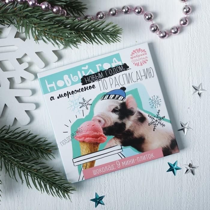 """Шоколад в конверте """"Новый год новым годом, а мороженное по расписанию"""", 9 шт. по 5 г"""