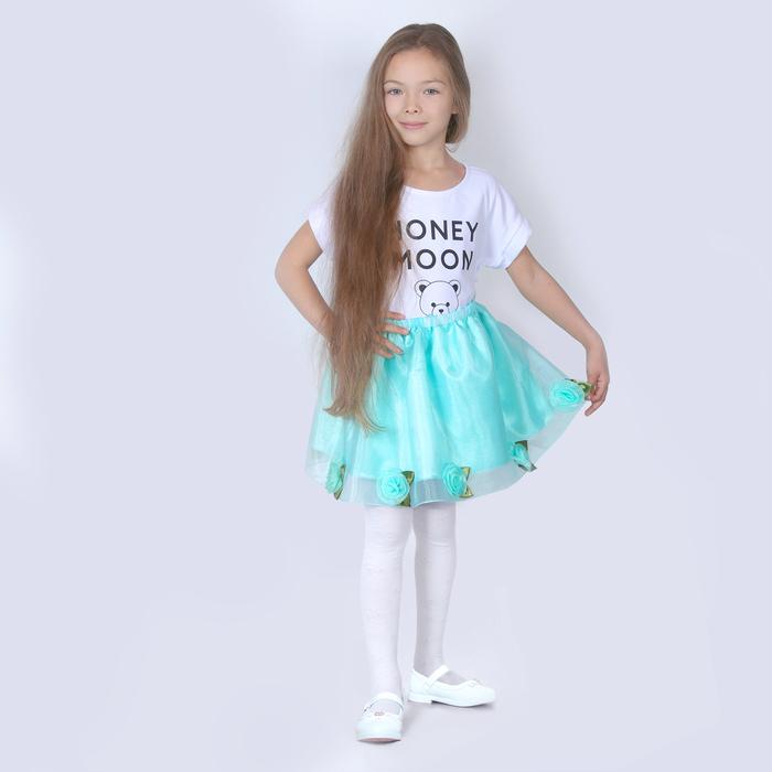 Карнавальная юбка для девочки, органза, атлас, длина 35 см, цвет мятный - фото 685210175