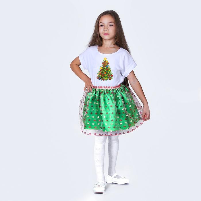 """Карнавальная юбка для девочки """"Конфетти"""", органза, атлас, длина 35 см, цвет зелёный"""