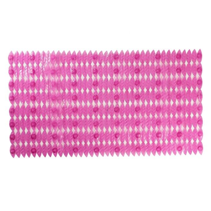 """Коврик для ванны 68×37 см """"Листики"""", цвет МИКС"""