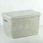 Ящик для хранения с крышкой «Ротанг», 23 л, 45×30×26,5 см, цвет белый - фото 4637006