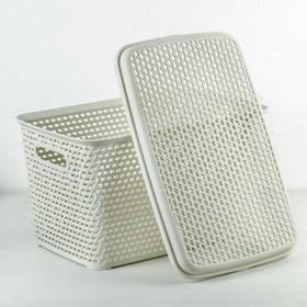 Ящик для хранения с крышкой «Ротанг», 23 л, 45×30×26,5 см, цвет белый - фото 4637007