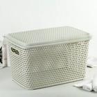 Ящик для хранения с крышкой «Ротанг», 23 л, 45×30×26,5 см, цвет белый - фото 4637009