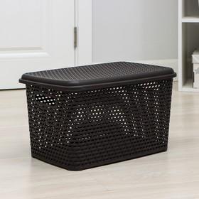 Ящик для хранения с крышкой «Ротанг», 23 л, 45×30×26,5 см, цвет коричневый