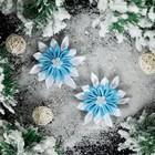 """Бант для декора """"Снежинка Канзаши №7"""", бело-голубая, D=7 см, 2 шт"""