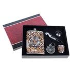 """Подарочный набор 5 в 1 """"Леопард"""": фляжка 270 мл + воронка, стопка, компас и нож-открывалка"""