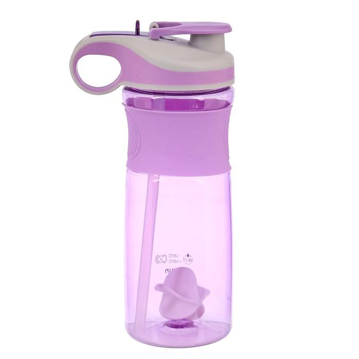 Бутылка для воды 800 мл, прозрачная, с резиновой вставкой, микс, 8х12х24 см