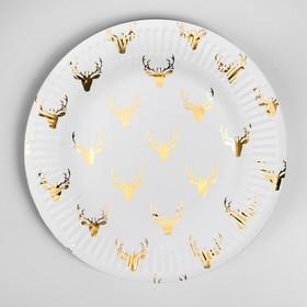 "Paper plate ""Deer"" (set 6 PCs) gold"
