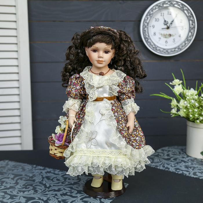 """Кукла коллекционная керамика """"Камилла с корзинкой цветов"""" 40 см"""