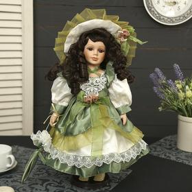 """Кукла коллекционная керамика """"Алёна в зелёном платье с зонтиком"""" 40 см в Донецке"""