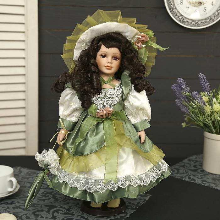 """Кукла коллекционная керамика """"Алёна в зелёном платье с зонтиком"""" 40 см"""