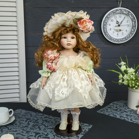 """Doll collectible ceramic """"Baby Cooking dress with lace and bonnet"""" 45 cm"""