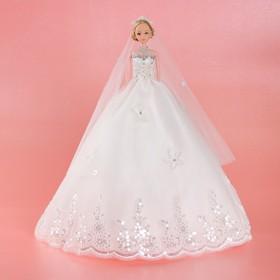 Кукла на подставке «Принцесса», белое платье с кружевом