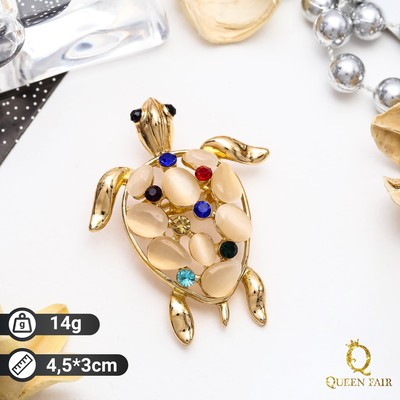 """Брошь """"Черепаха"""" морская, цветная в золоте"""