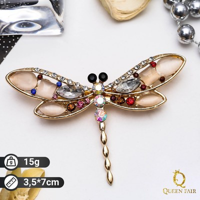 """Brooch """"Dragonfly"""" morning, colored in gold"""