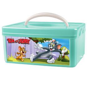 Коробка универсальная с ручкой и аппликацией «Том и Джерри», цвет зелёный