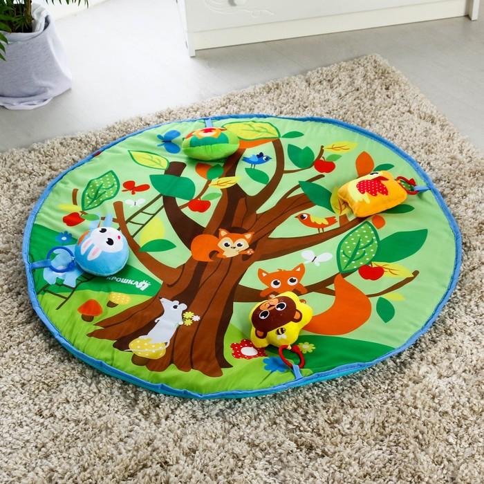 Развивающий коврик «Кто живет в лесу», 4 мягкие игрушки, d80см - фото 76132328