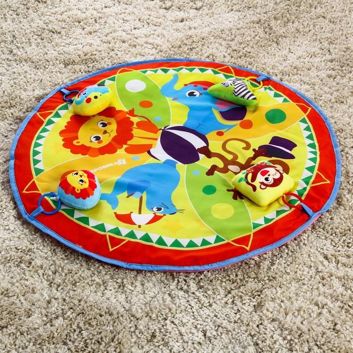 Развивающий коврик «Цирк», 4 мягкие игрушки, d80см - фото 76132343