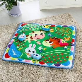 Развивающий коврик «Полянка», 4 мягкие  игрушки, 80х80см