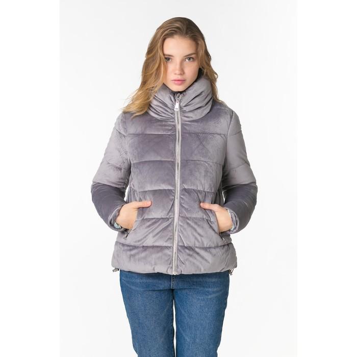 Куртка женская утепленная бархатная, р.S, цв.серебро