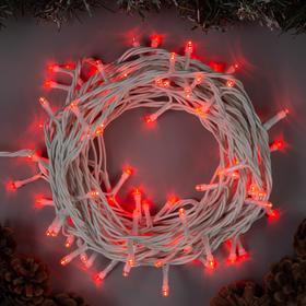 """Гирлянда """"Нить"""" 10 м , IP44, белая нить, 100 LED, свечение красное, 8 режимов, 220 В в Донецке"""