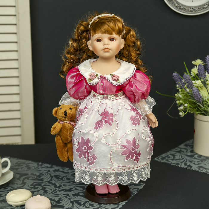 """Кукла коллекционная керамика """"Машенька с медвежонком"""" 40 см"""