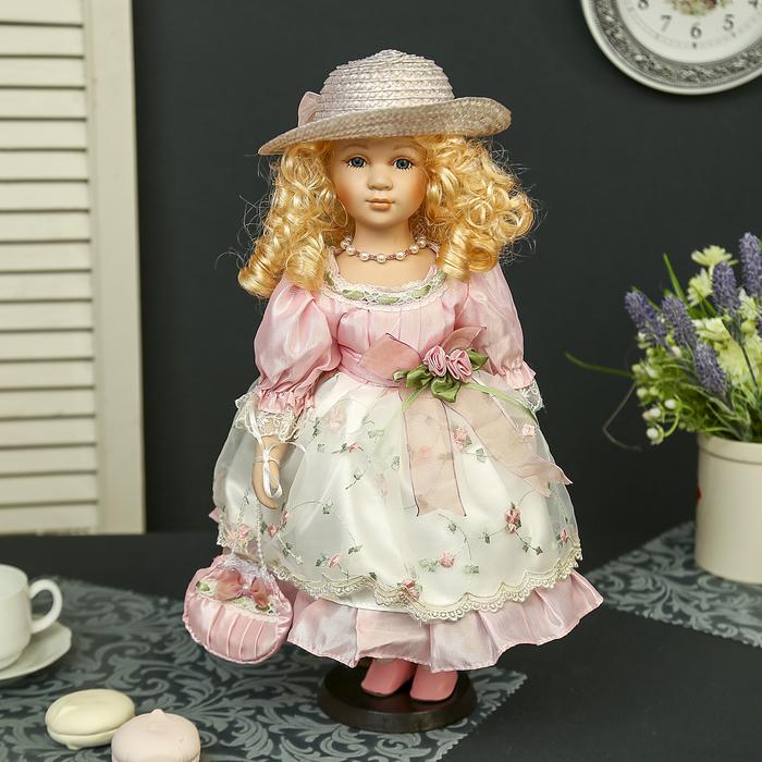 """Кукла коллекционная керамика """"Алиса в цветочном платье"""" 40 см"""