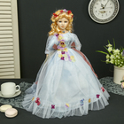 """Collectible ceramic doll """"Miroslava in pale blue dress"""" 45 cm"""