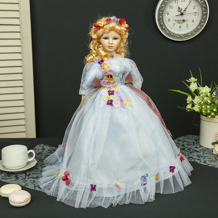 """Кукла коллекционная керамика """"Мирослава в нежно-голубом платье"""" 45 см"""