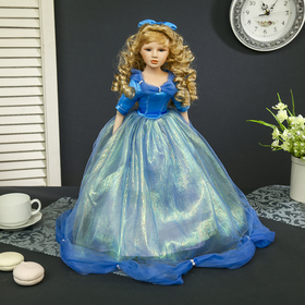 "Doll collectible ceramics ""Malvina in sky blue dress"" 45 cm"